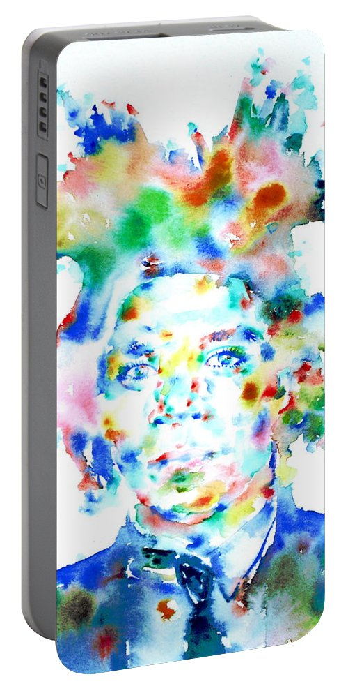 Basquiat Portable Battery Charger featuring the painting Basquiat Jean Michel Watercolor Portrait by Fabrizio Cassetta