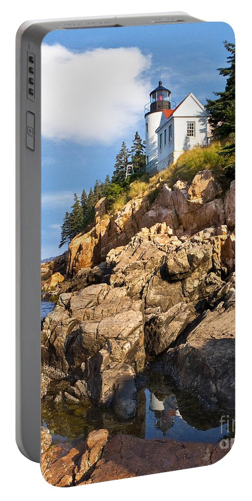 Acadia Portable Battery Charger featuring the photograph Bass Harbor Lighthouse by Jerry Fornarotto