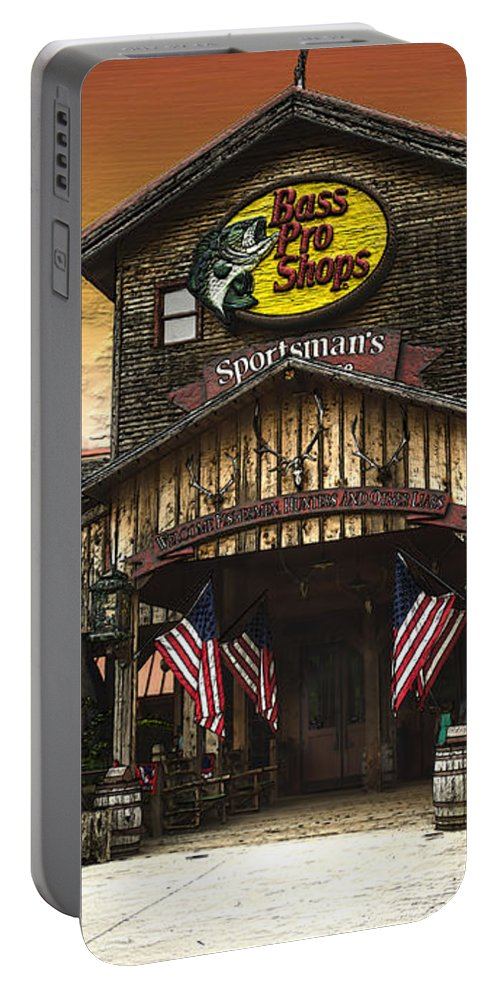 Shop Portable Battery Charger featuring the photograph Bass Pro Shop by Donna Brown