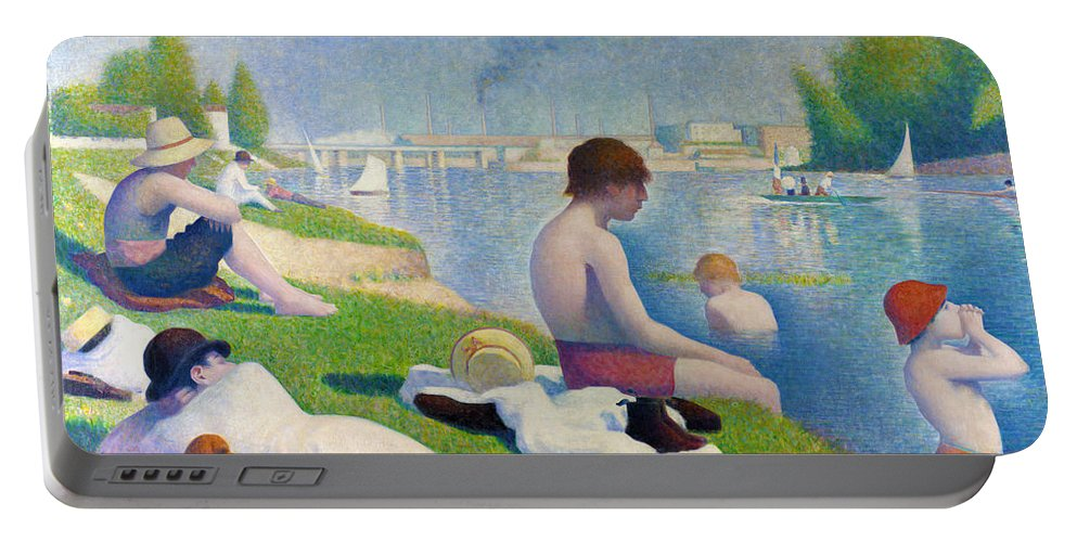 Georges Seurat Portable Battery Charger featuring the digital art Bathers In Asnieres by Georges Seurat