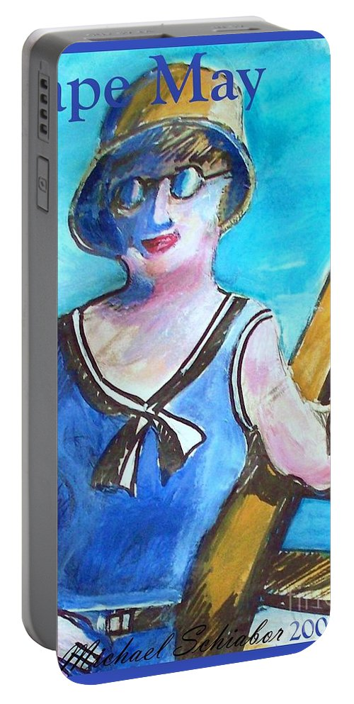 Beach Portable Battery Charger featuring the painting Bathing Suit Beauty Poster by Eric Schiabor