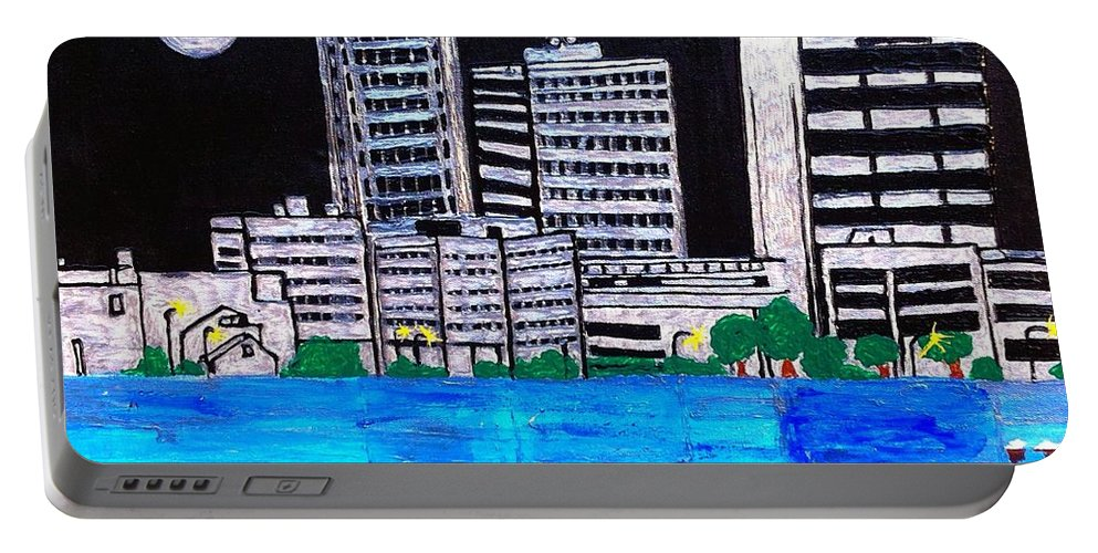 Baton A Rouge La Portable Battery Charger featuring the painting Baton Rouge La by Saundra Myles
