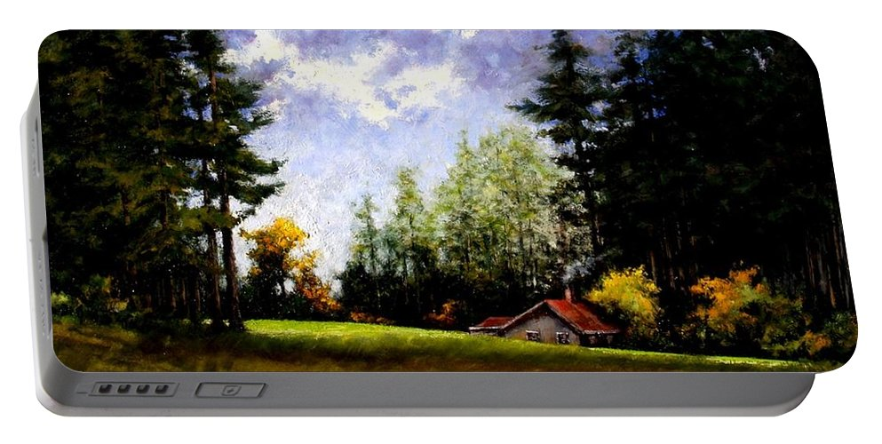 Landscape Portable Battery Charger featuring the painting Battle Ground Park by Jim Gola