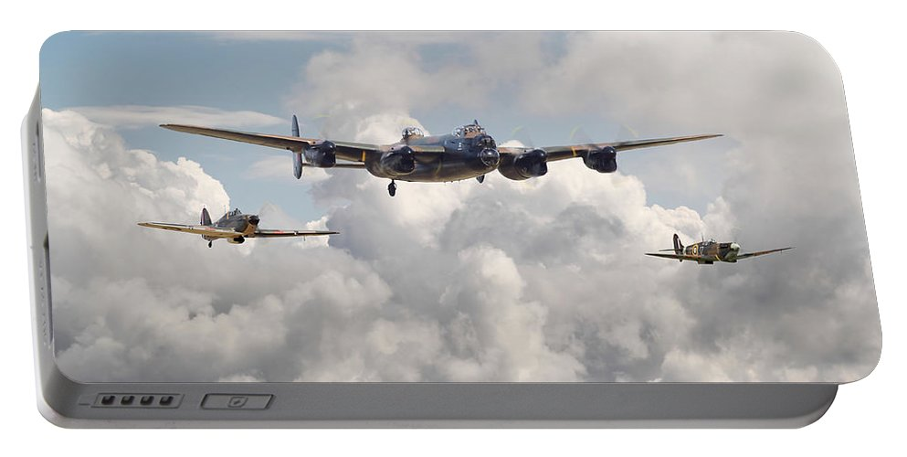 Aircraft Portable Battery Charger featuring the digital art Battle Of Britain - Memorial Flight by Pat Speirs