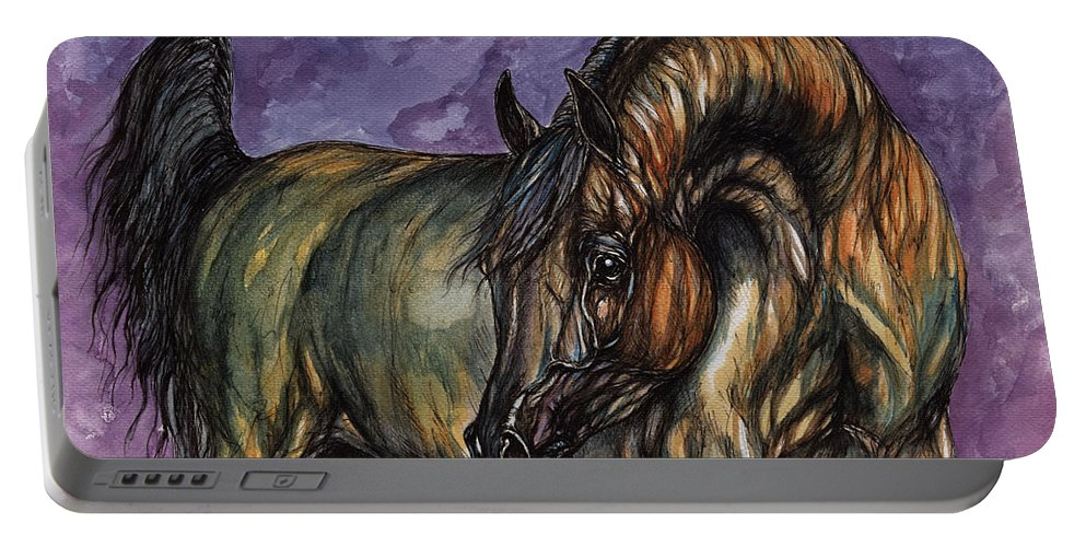 Psychodelic Portable Battery Charger featuring the painting Bay Horse On The Purple Background by Angel Ciesniarska