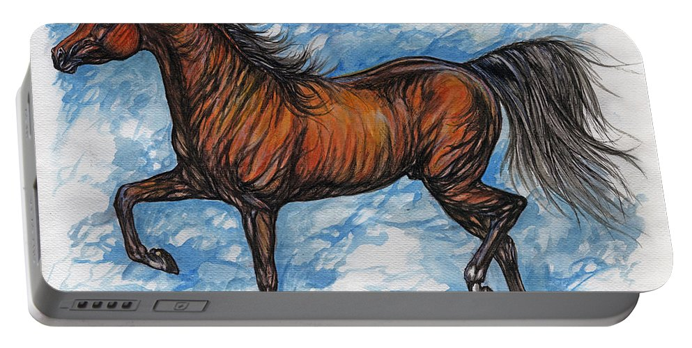 Psychodelic Portable Battery Charger featuring the painting Bay Horse Running by Angel Ciesniarska
