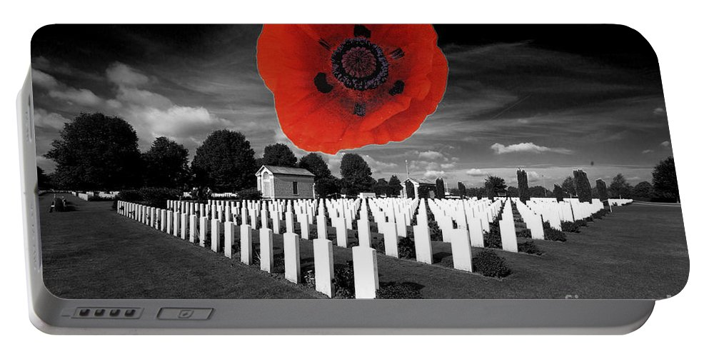The War Cemetery At Bayeaux In Normandy Portable Battery Charger featuring the photograph Bayeaux Cemetry by Rob Hawkins
