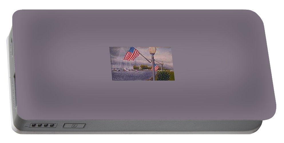 Rick Huotari Portable Battery Charger featuring the painting Bayfield On The 4th by Rick Huotari