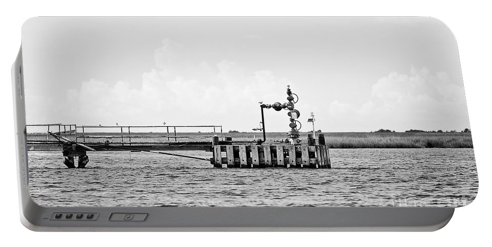 Bayou Portable Battery Charger featuring the photograph Bayou Energy - Bw by Scott Pellegrin