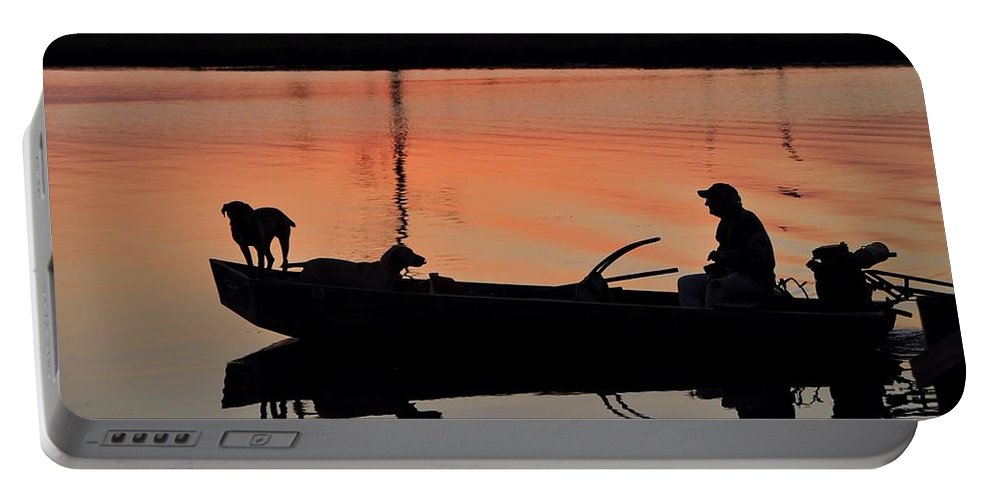 Dogs Portable Battery Charger featuring the photograph Bayou Patrol by Charlotte Schafer