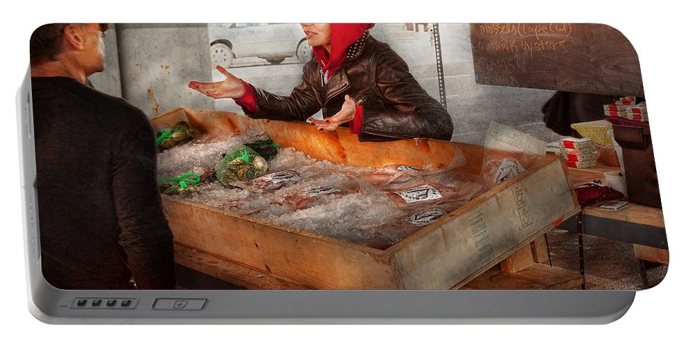 Amsterdam Market Portable Battery Charger featuring the photograph Bazaar - I Sell Fish by Mike Savad