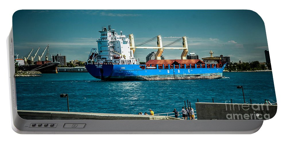Ship Portable Battery Charger featuring the photograph Bbc Elbe On St Clair River by Ronald Grogan