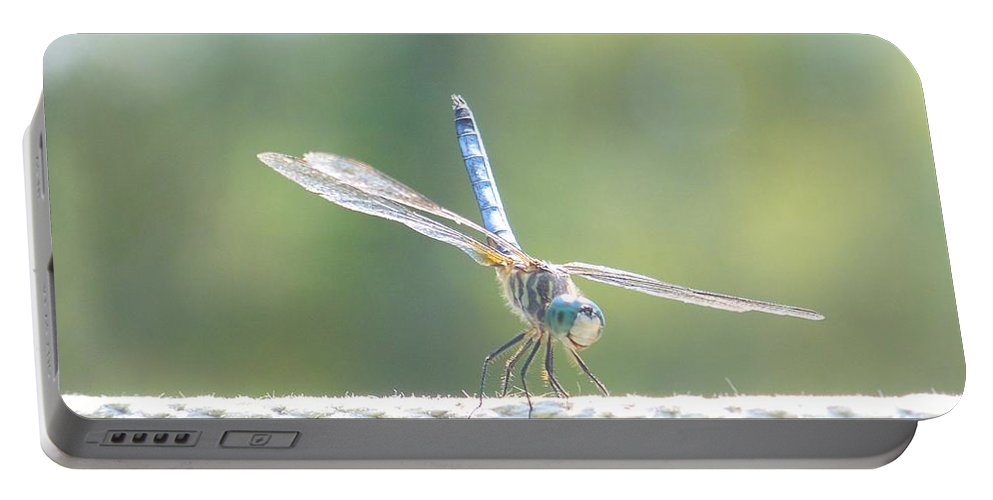 Macro Portable Battery Charger featuring the photograph Smiling Dragonfly by Eunice Miller