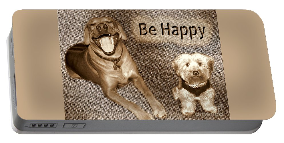 Yorkie Portable Battery Charger featuring the photograph Be Happy by Mim White