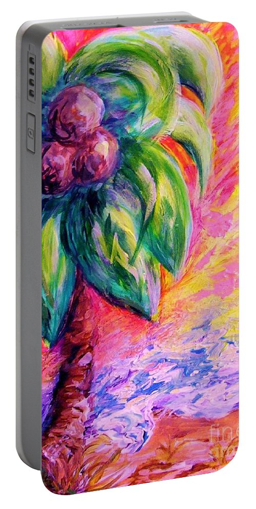 Whimsical Portable Battery Charger featuring the painting Beach Abstract by Eloise Schneider Mote