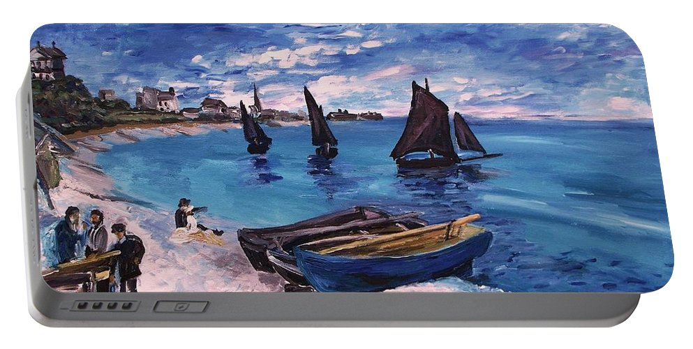 Monet Portable Battery Charger featuring the painting Beach At Sainte Adresse Monet by Eric Schiabor
