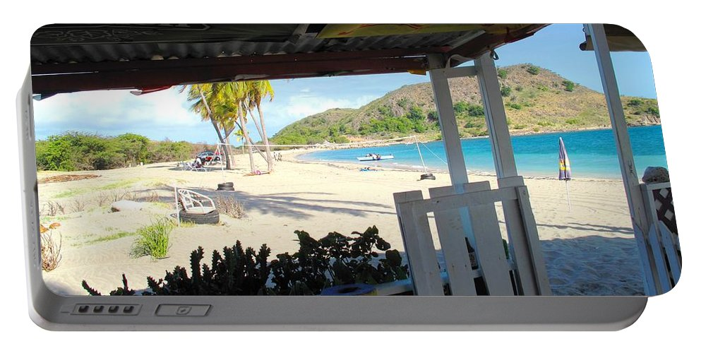 St Kitts Portable Battery Charger featuring the photograph Beach Bar In January by Ian MacDonald