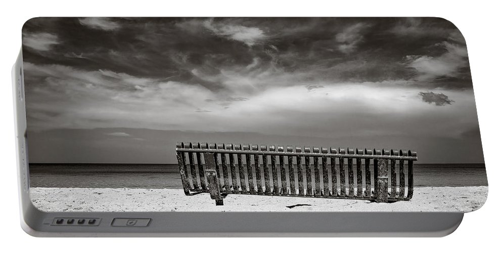 Jamaica Portable Battery Charger featuring the photograph Beach Bench by Dave Bowman