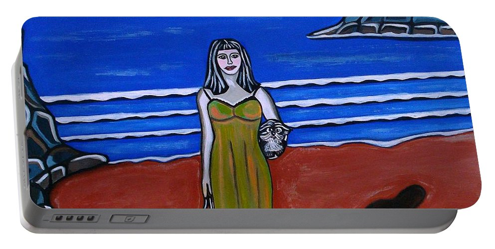 Beach Paintings Portable Battery Charger featuring the painting Beach Chic by Sandra Marie Adams
