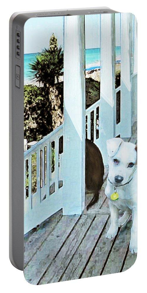 Jane Schnetlage Portable Battery Charger featuring the digital art Beach Dog 1 by Jane Schnetlage