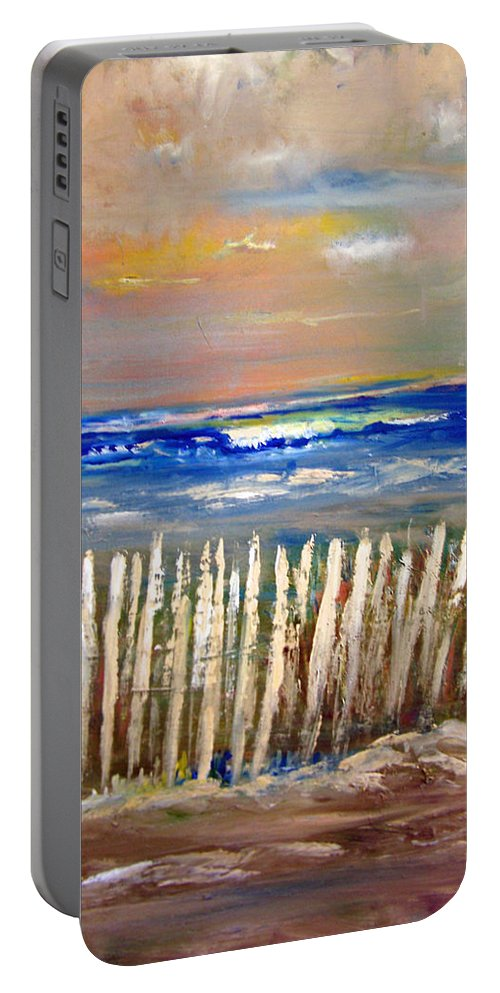 Fence Portable Battery Charger featuring the painting Beach Fence by Patricia Taylor