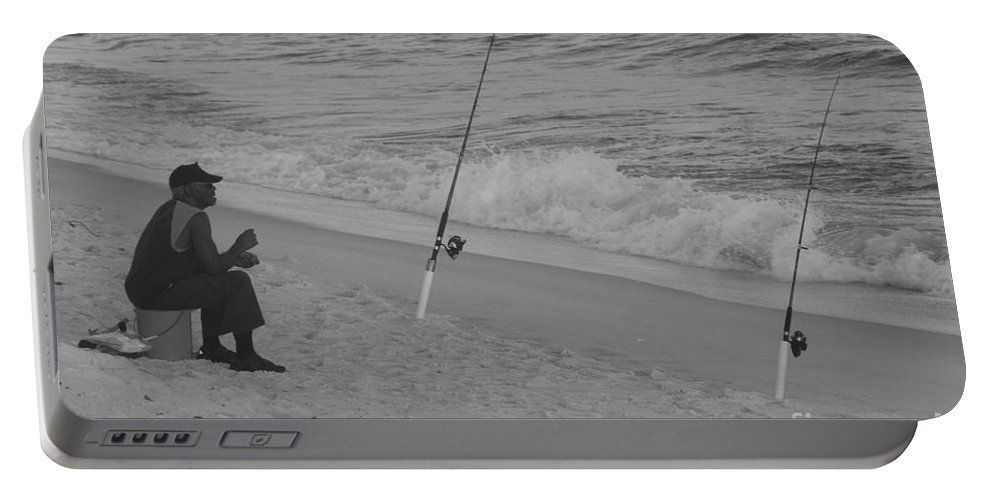 Beach Fishing Portable Battery Charger featuring the photograph Beach Fishing by Michelle Powell