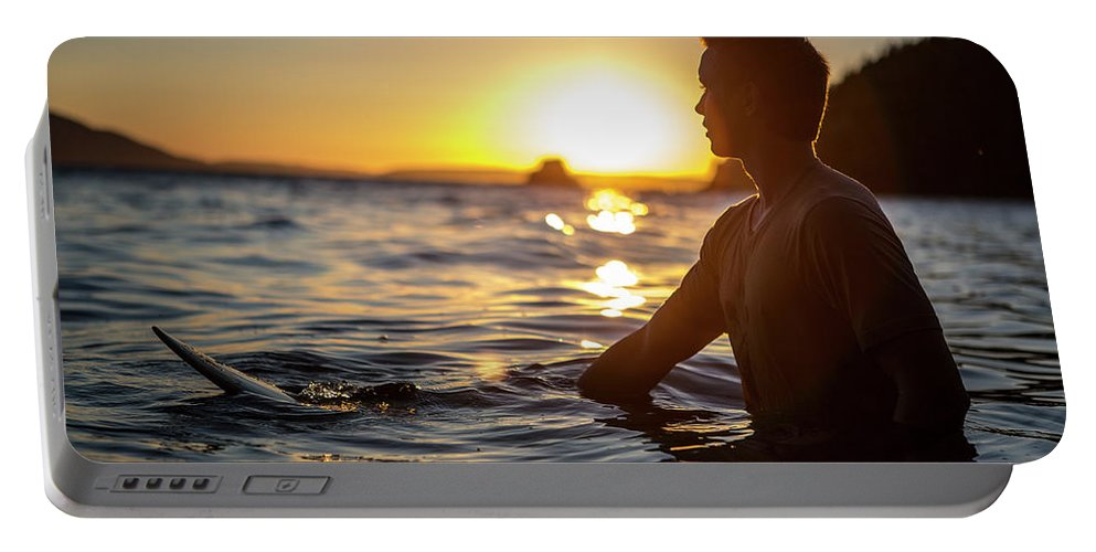 Silhouette Portable Battery Charger featuring the photograph Beach Lifestyle by Gabe Rogel