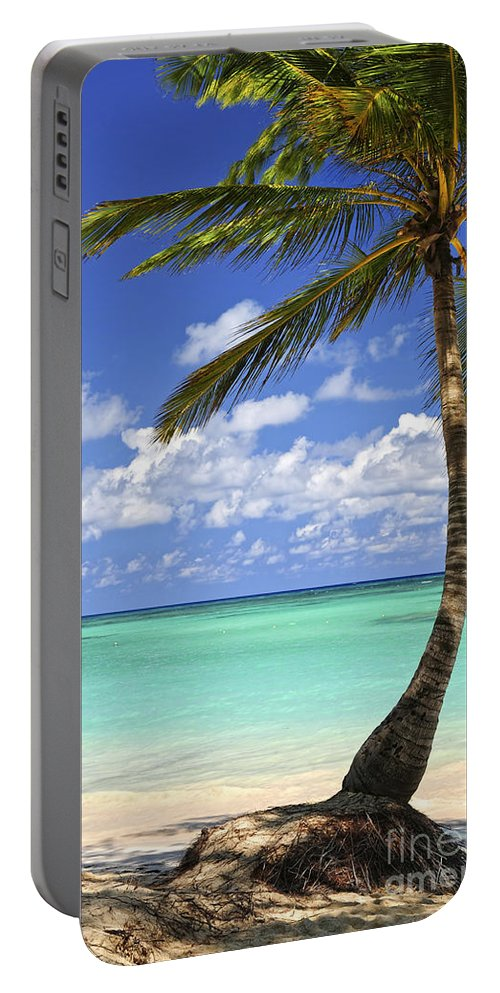 Beach Portable Battery Charger featuring the photograph Beach of a tropical island by Elena Elisseeva