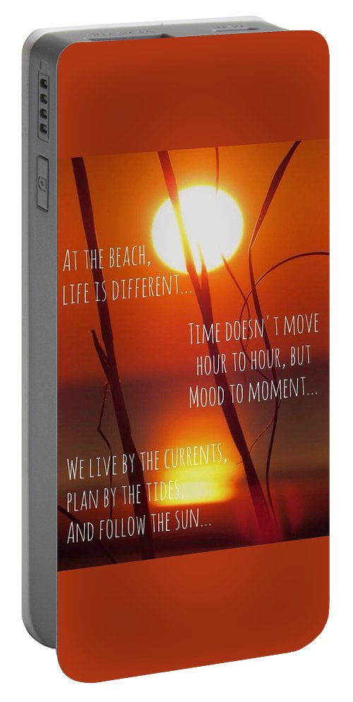 Quote Portable Battery Charger featuring the photograph Beach Quote by Nikki Watson  McInnes