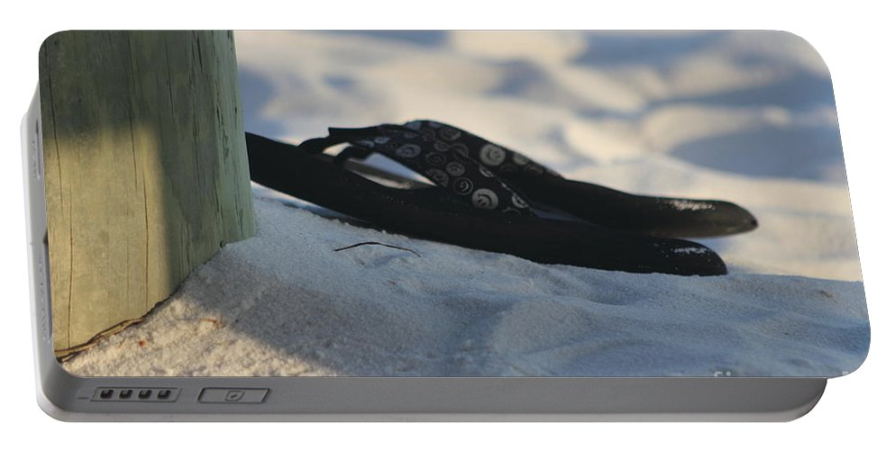 Beach Sandals Portable Battery Charger featuring the photograph Beach Sandals 1 by Michelle Powell