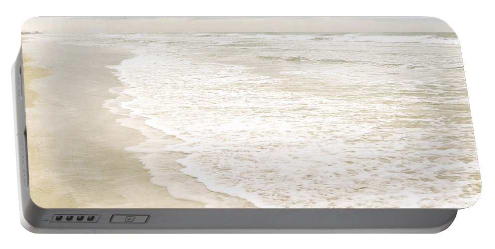 Beach Print Portable Battery Charger featuring the photograph Beach Serenity by Angie Mahoney
