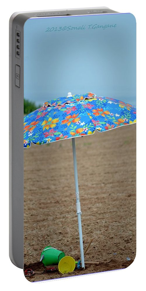 Umbrella Portable Battery Charger featuring the photograph Beach Time by Sonali Gangane