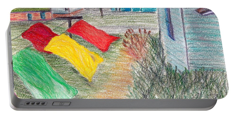Drawing Portable Battery Charger featuring the drawing Beach Town by M West