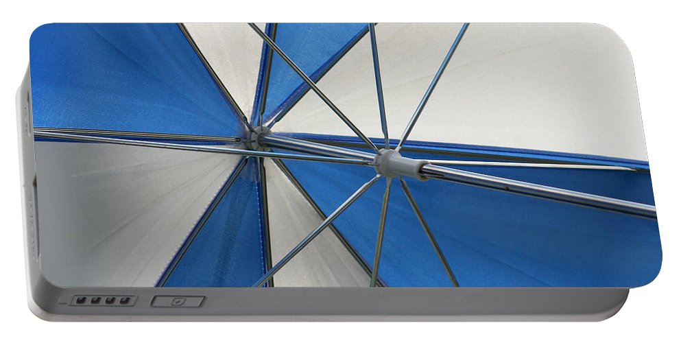 Beach Umbrella Portable Battery Charger featuring the photograph Beach Umbrella by Art Block Collections