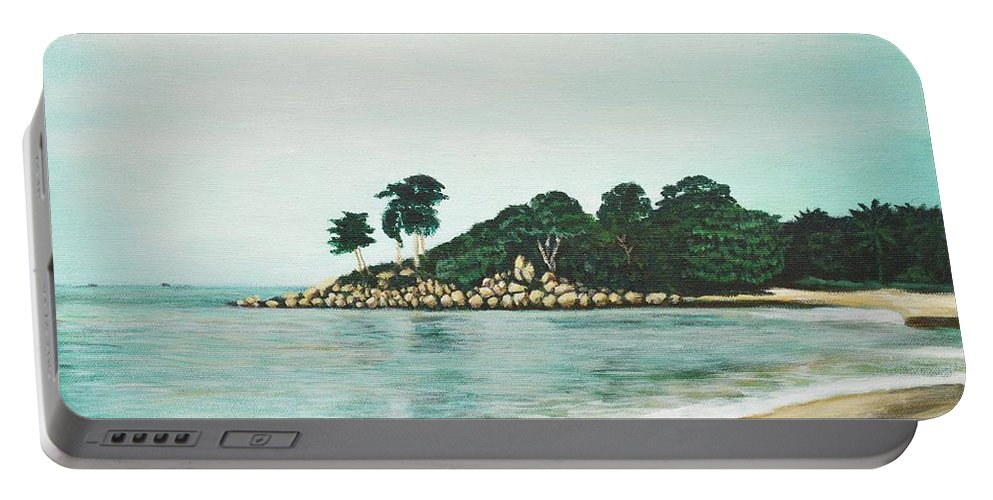 Beach Portable Battery Charger featuring the painting Beach by Usha Shantharam