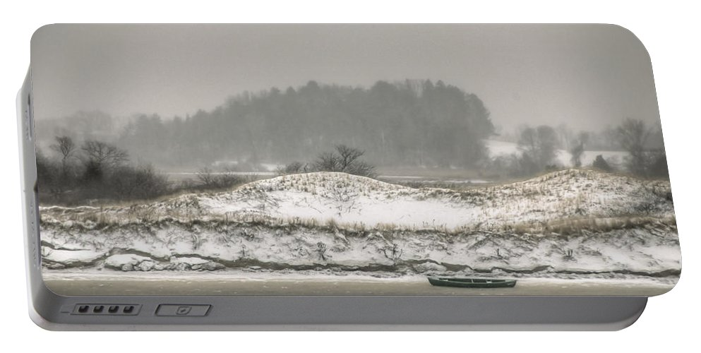 Cedar Point Portable Battery Charger featuring the photograph Beached Boat Winter Storm by David Stone