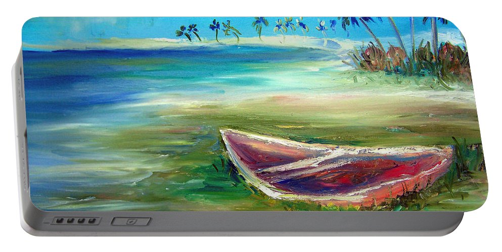 Rowboat Portable Battery Charger featuring the painting Beached by Patricia Taylor