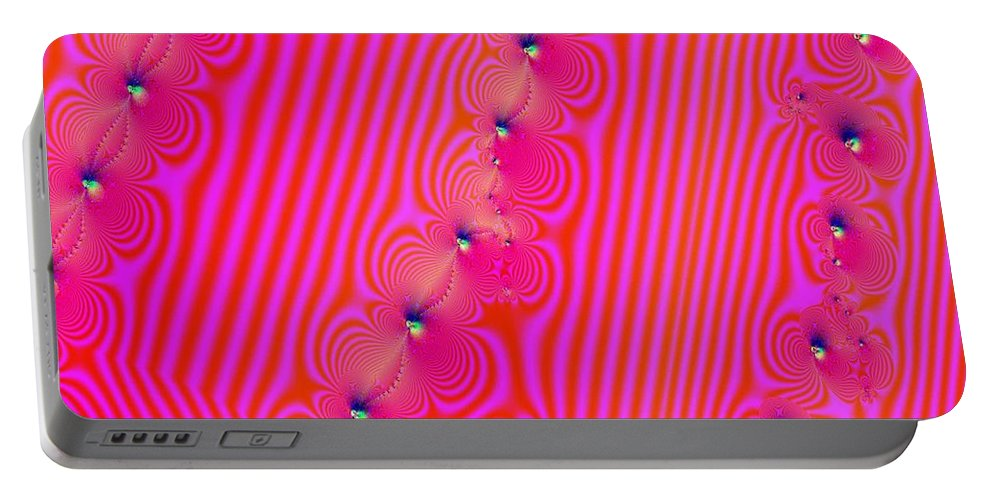 Fractal Portable Battery Charger featuring the digital art Beaded Pink by Luther Fine Art