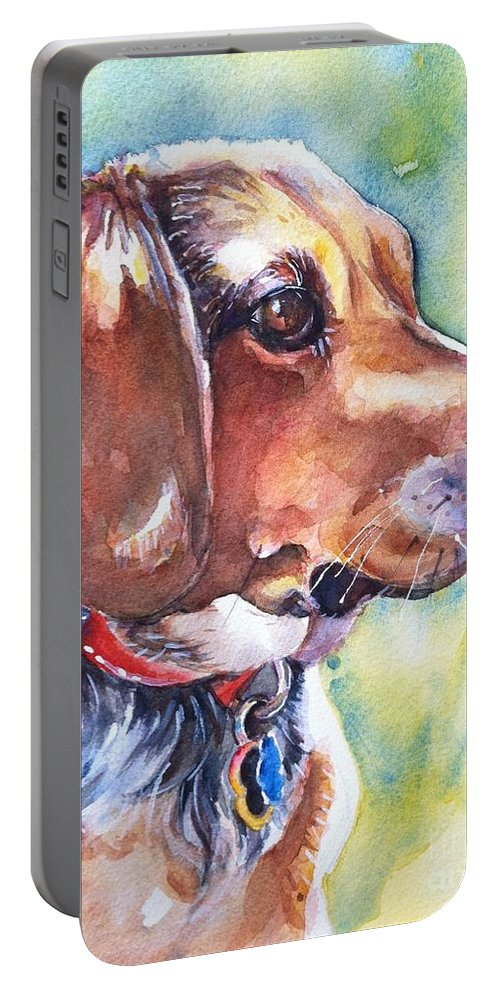 Beagle Painting Portable Battery Charger featuring the painting Beagle Dog by Maria's Watercolor