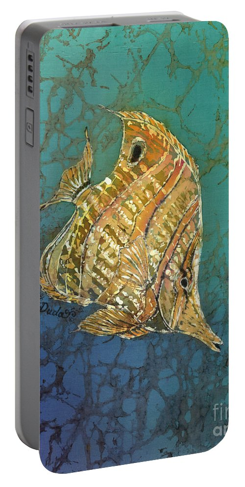 Fish Portable Battery Charger featuring the painting Beaked Butterflyfish by Sue Duda