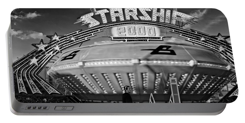Bolton Fall Fair Portable Battery Charger featuring the photograph Beam Me Up Scotty Monochrome by Steve Harrington