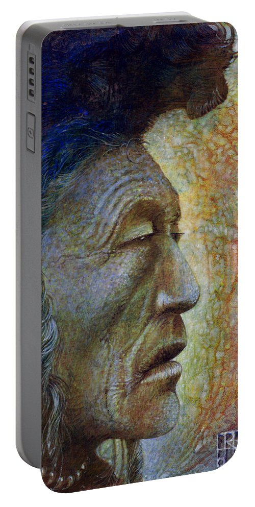 Bear Bull Portable Battery Charger featuring the painting Bear Bull Shaman by Otto Rapp
