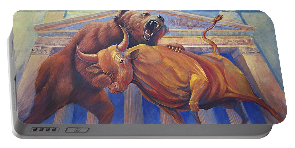 Wall Art. Wildlife Paintings Portable Battery Charger featuring the painting Bear Vs Bull by Rob Corsetti