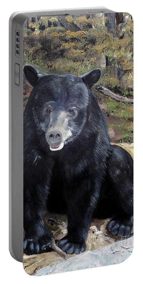 Black Bear Portable Battery Charger featuring the painting Bear - Wildlife Art - Ursus Americanus by Jan Dappen