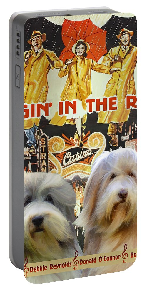 Bearded Collie Portable Battery Charger featuring the painting Bearded Collie Art Canvas Print - Singin In The Rain Movie Poster by Sandra Sij
