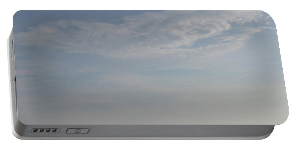 Cloud Portable Battery Charger featuring the photograph Bearded Man Flying Cloud by Ellen Meakin