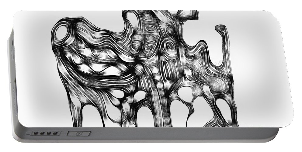 Graphic Portable Battery Charger featuring the digital art Beast 711 - Marucii by Marek Lutek