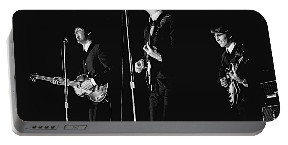 Beatles Portable Battery Charger featuring the photograph Beatles In Concert, 1964 by Larry Mulvehill