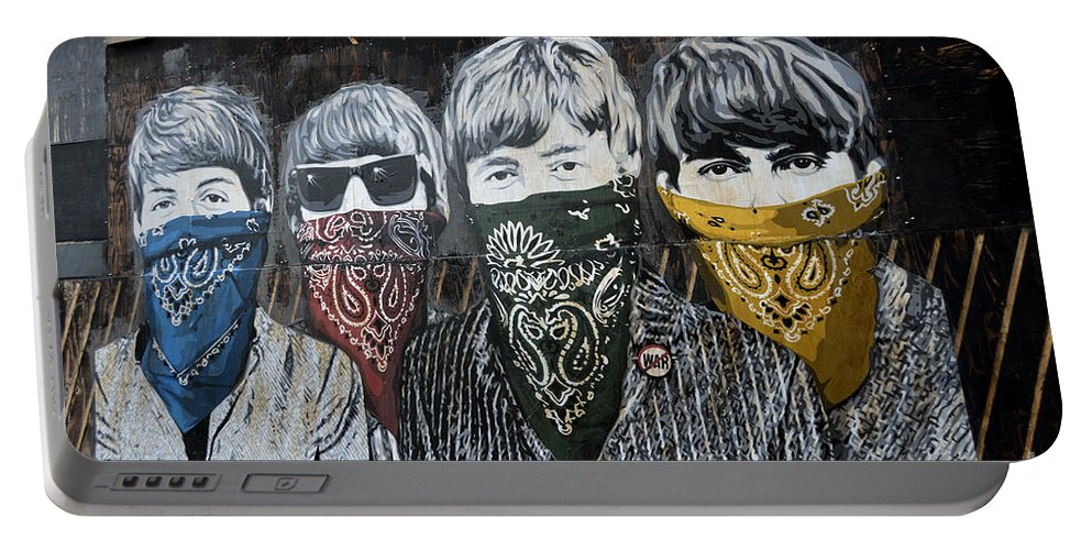 Banksy Portable Battery Charger featuring the photograph The Beatles wearing face masks street mural by RicardMN Photography
