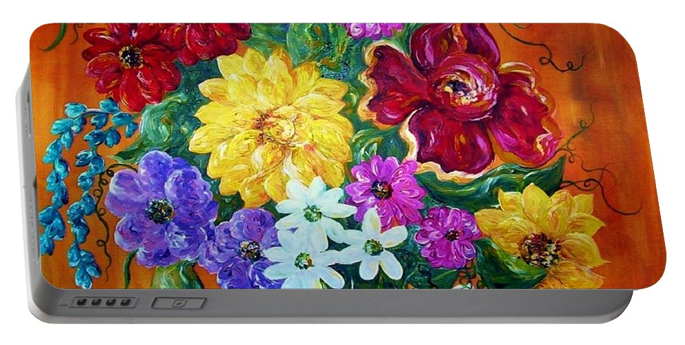 Flower Portable Battery Charger featuring the painting Beauties In Bloom by Eloise Schneider Mote